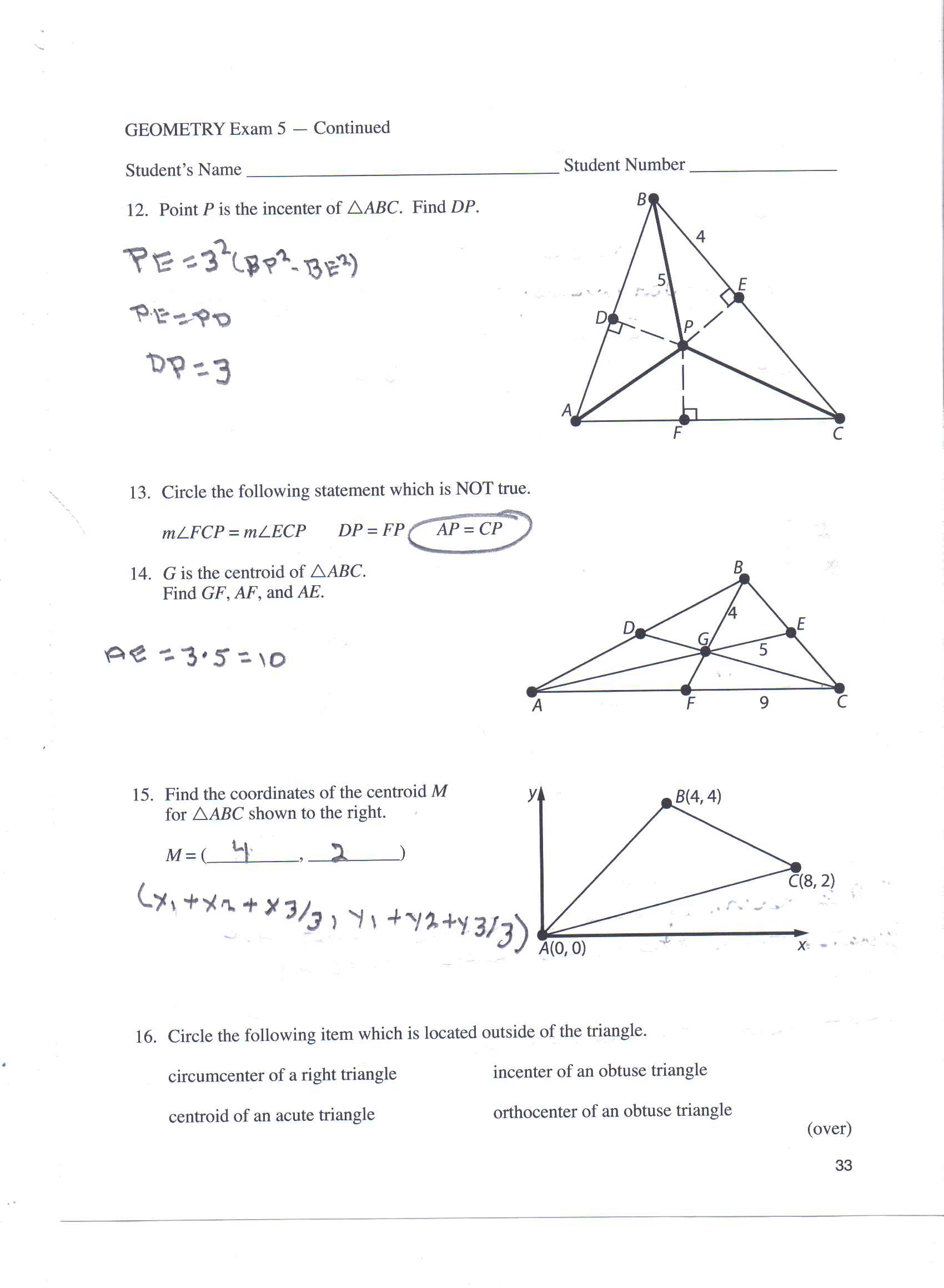 Solved Point P Is The Incenter Of Delta Abc Find Dp Pe