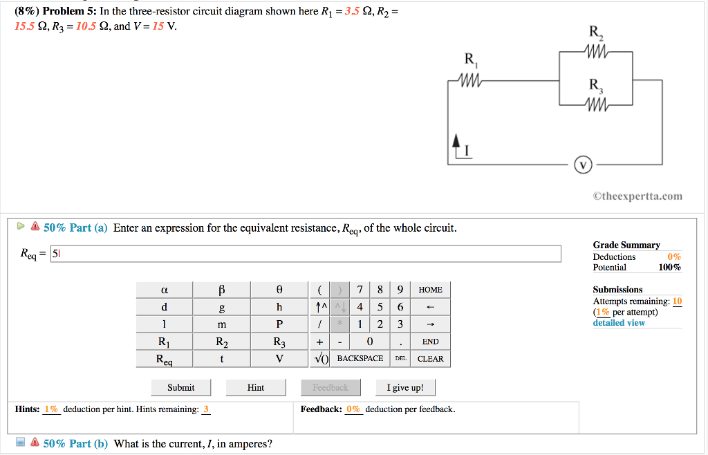 Solved: (896) Problem 5: In The Three-resistor Circuit Dia