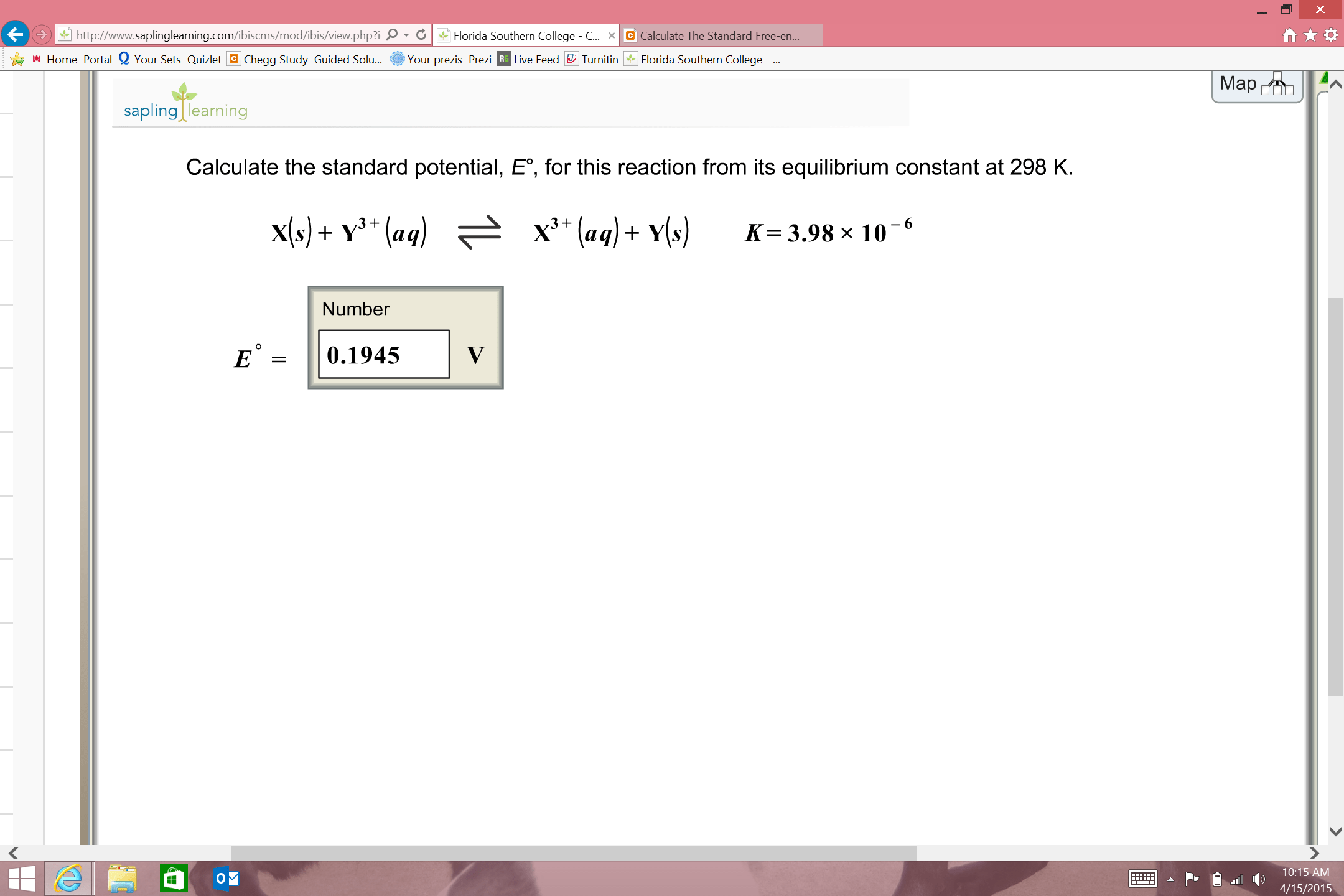 Calculate The Standard Potential E For This R