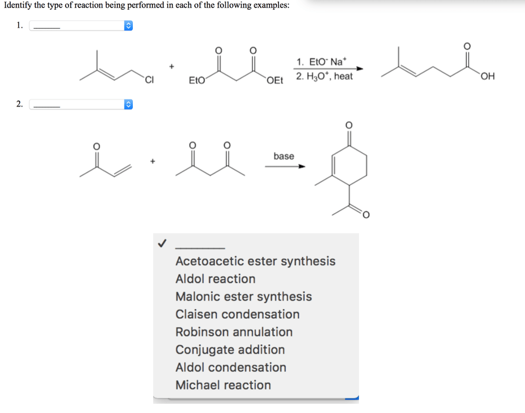 Solved Identify The Type Of Reaction Being Performed In E