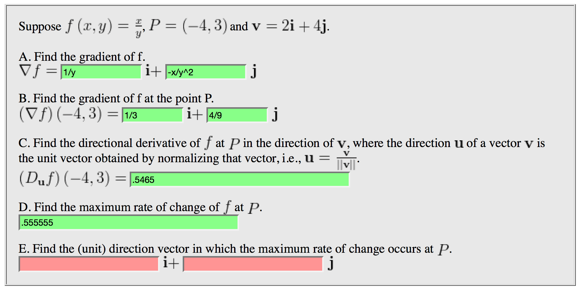 Solved Find The Unit Direction Vector In Which The Maxi