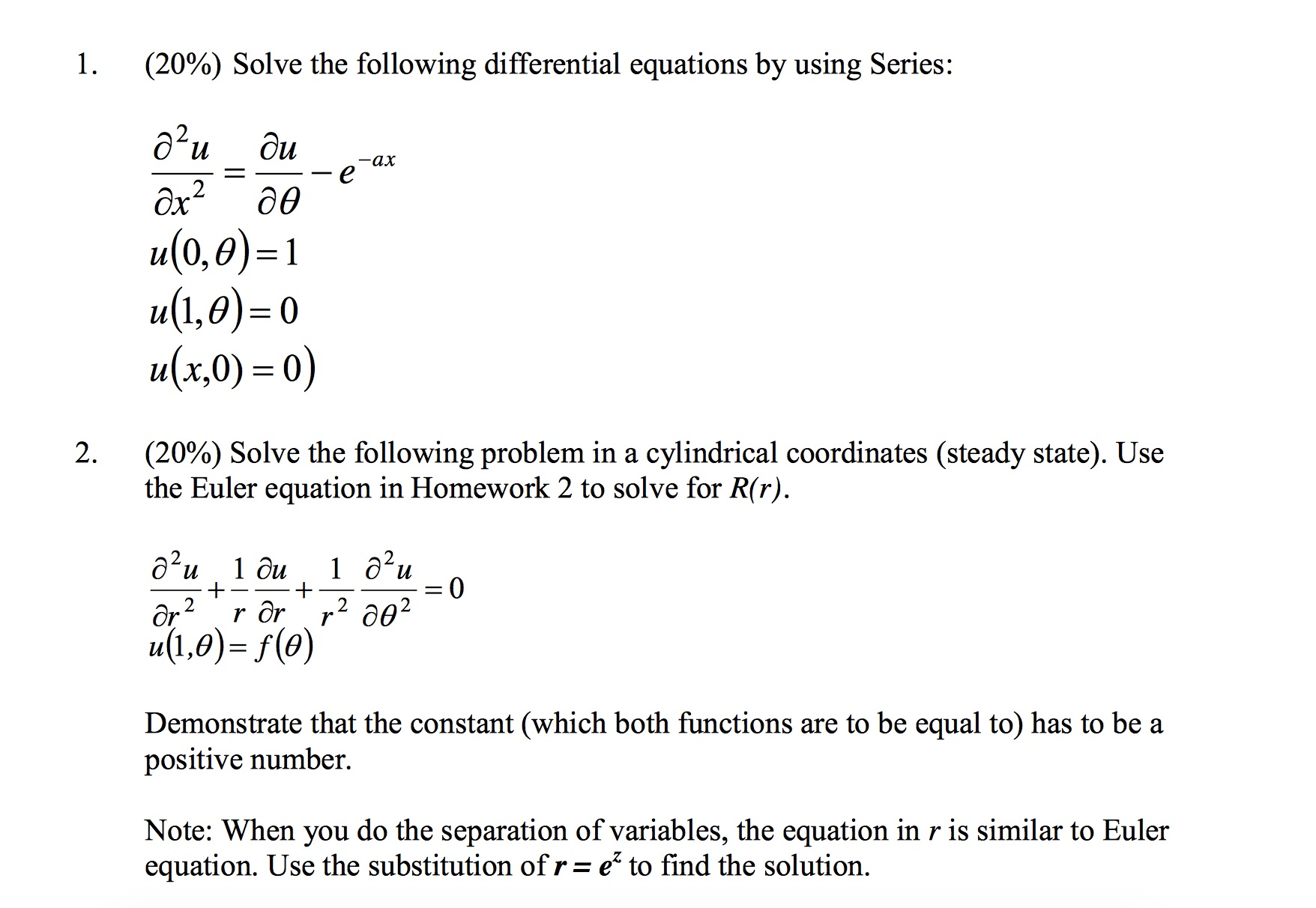 Solve The Following Differential Equations By Usin