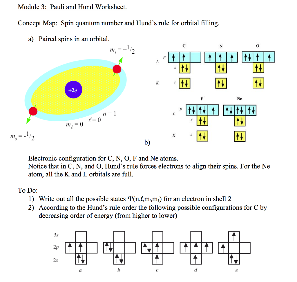 Solved Concept Map Spin Quantum Number And Hund S Rule F