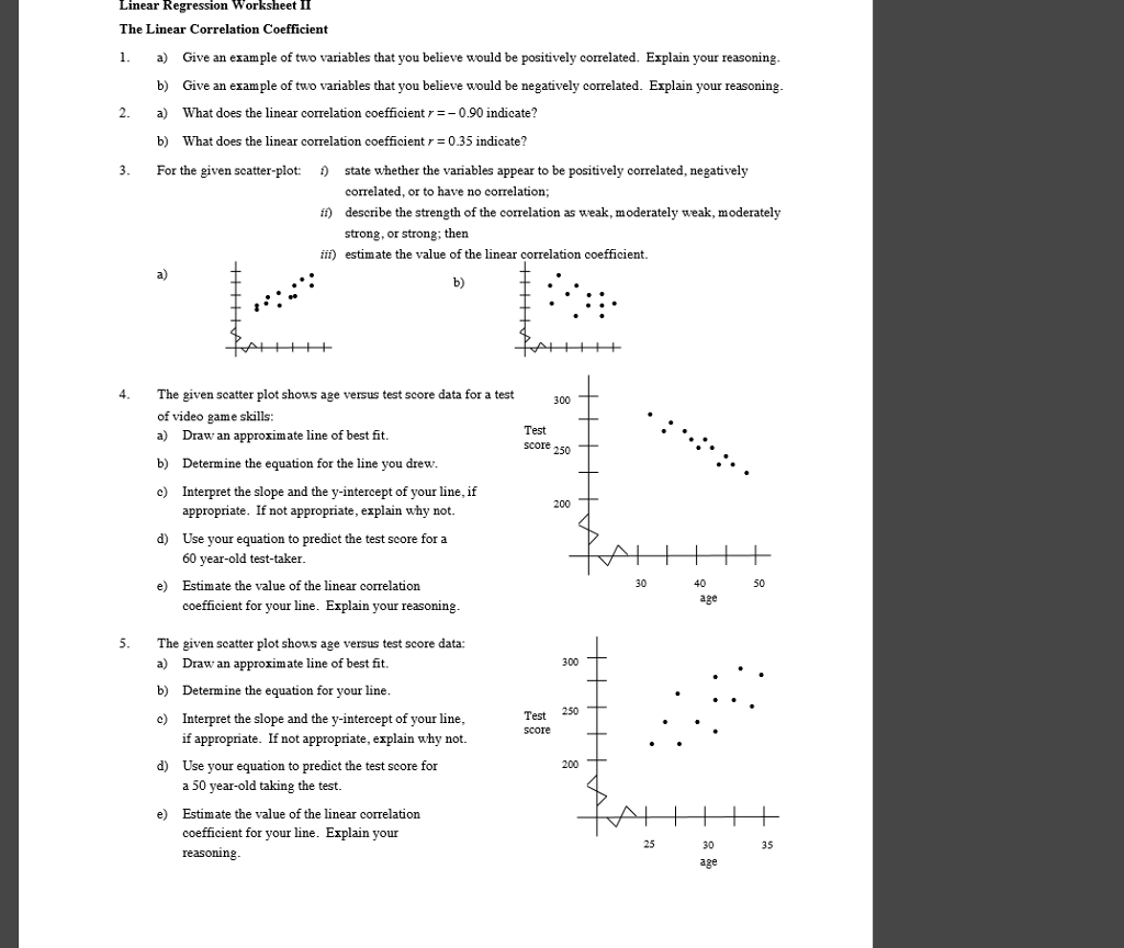 Solved Linear Regression Worksheet 11 The Linear Correlat