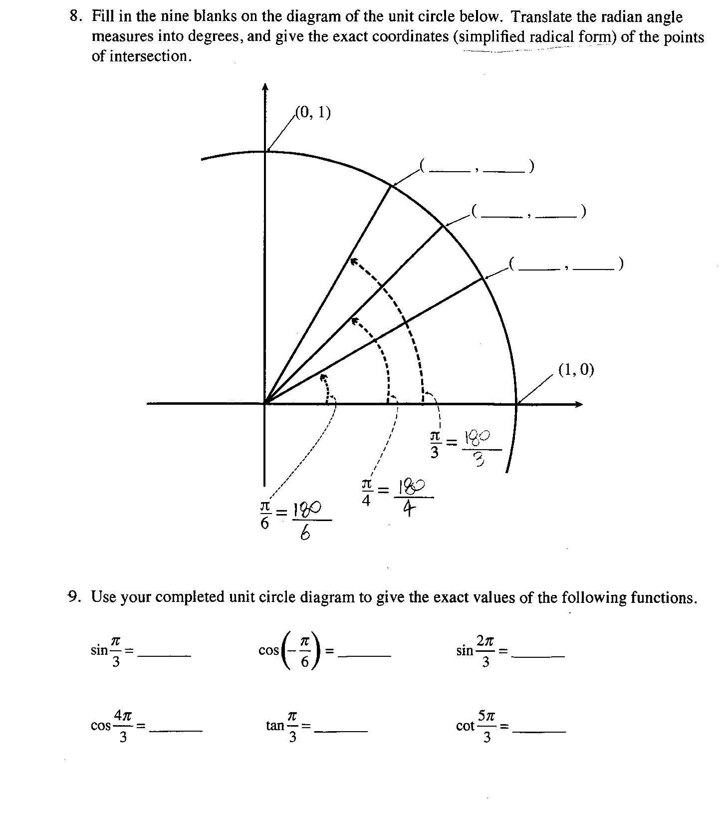 Solved 8 Fill In The Nine Blanks On The Diagram Of The U