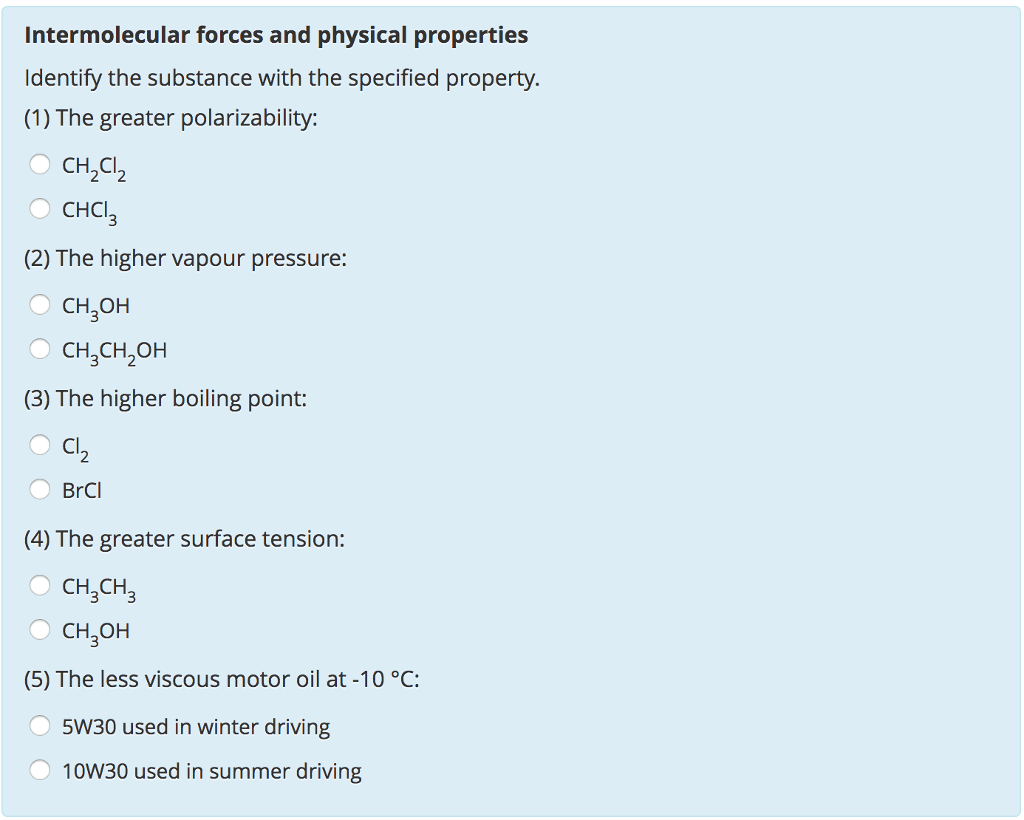 Solved Intermolecular Forces And Physical Properties Iden
