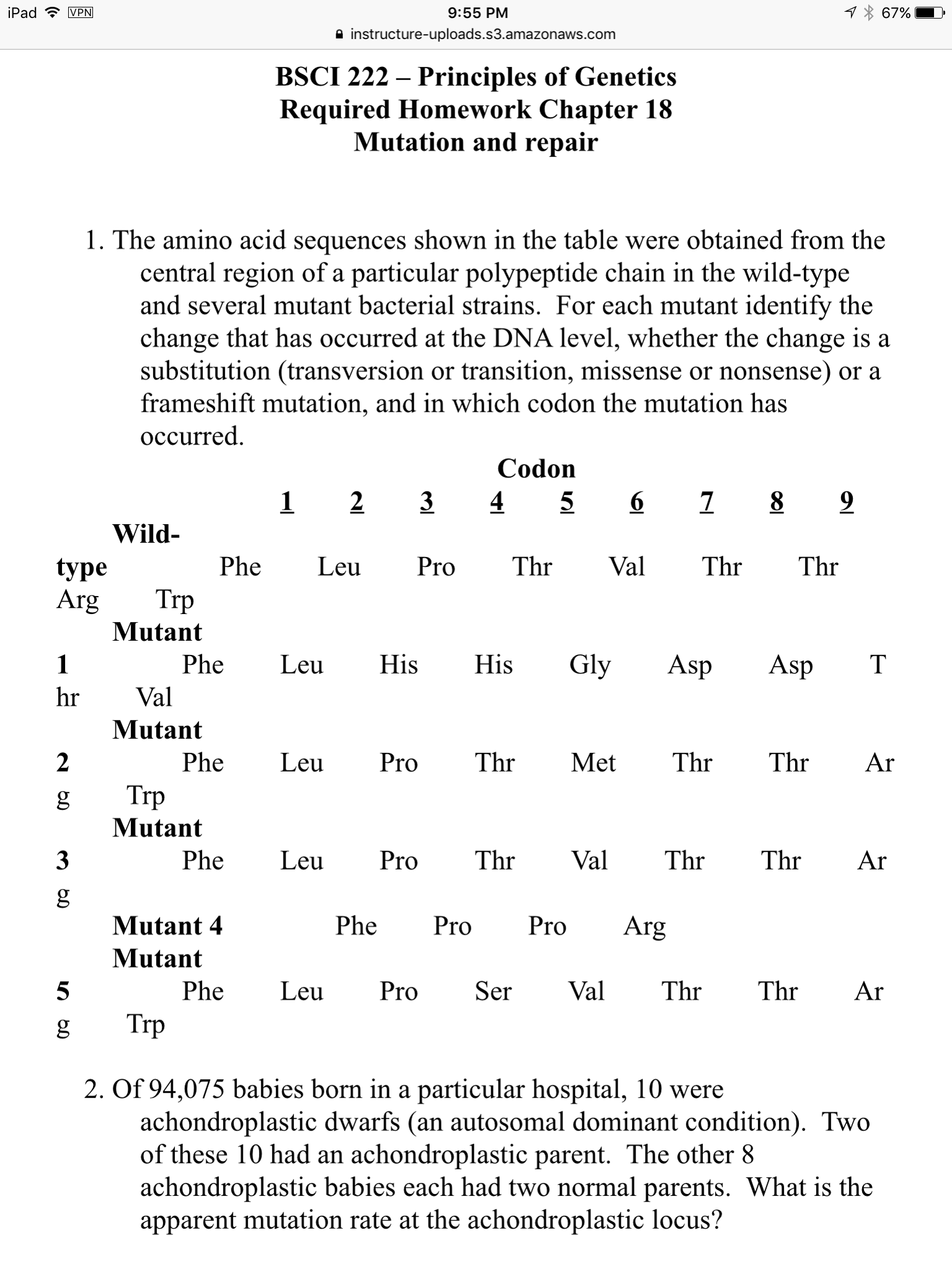 Solved The Amino Acid Sequences Shown In The Table Were O