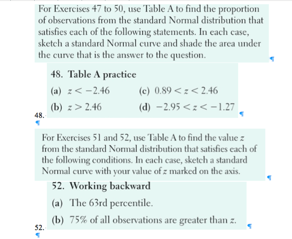 Solved Use Table A To Find The Proportion Of Observations