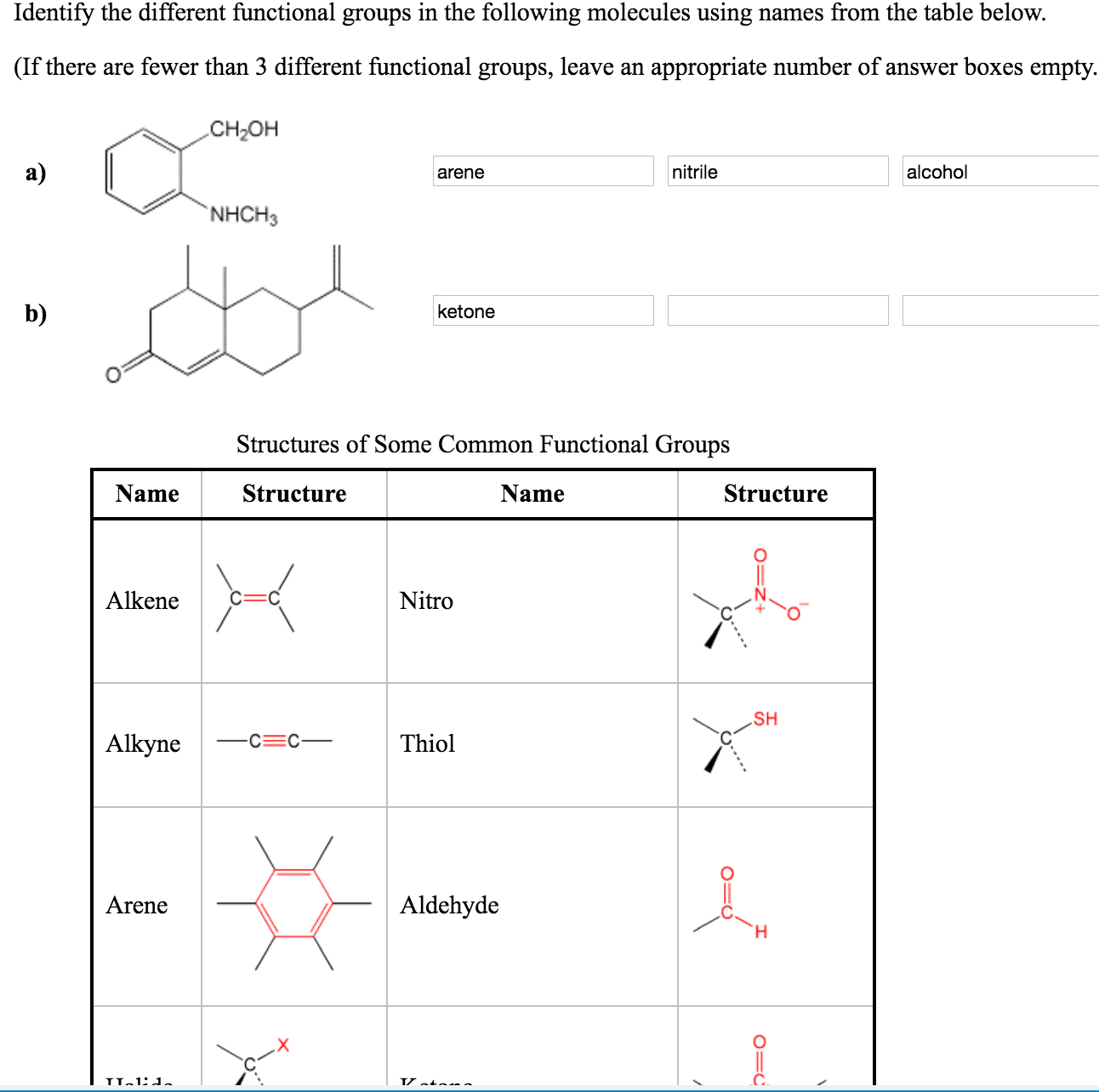Solved Identify The Different Functional Groups In The Fo