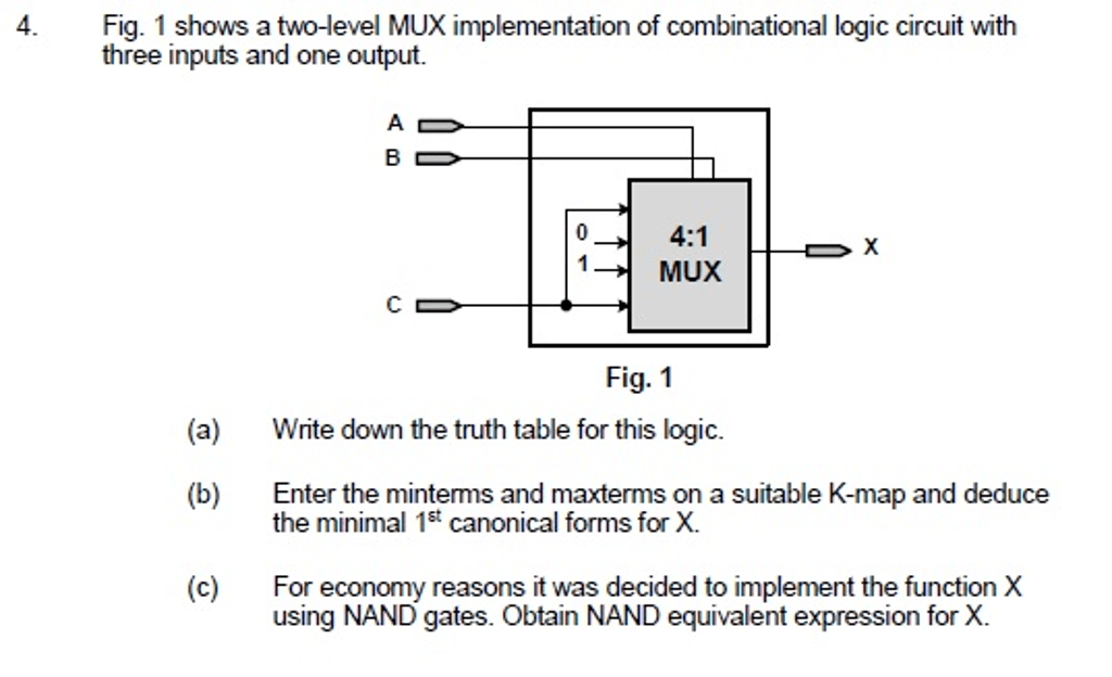 Solved: Shows A Two-level MUX Implementation Of Combinatio