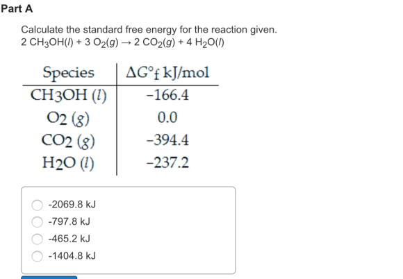 Solved: Calculate The Standard Free Energy For The Reactio ...
