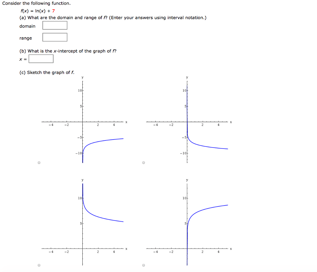 Solved Consider The Following Function F X Ln X 7
