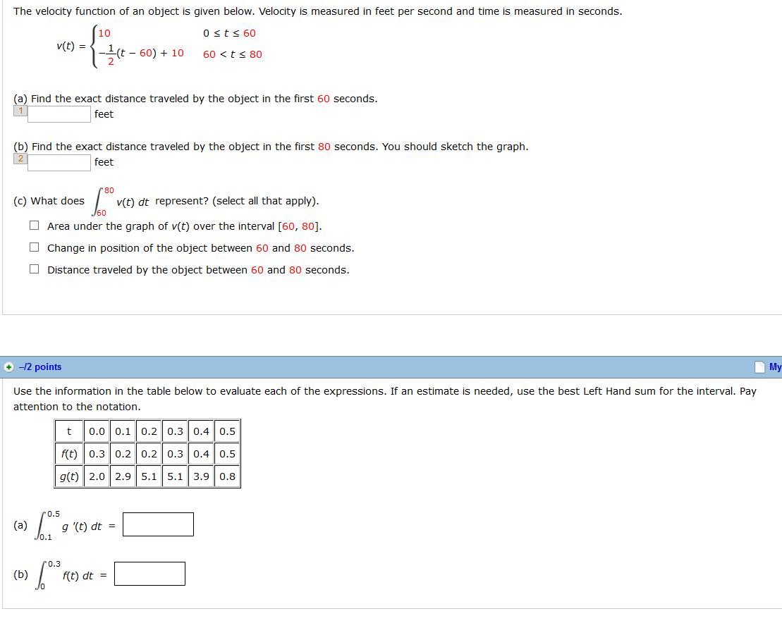 Solved The Velocity Function Of An Object Is Given Below
