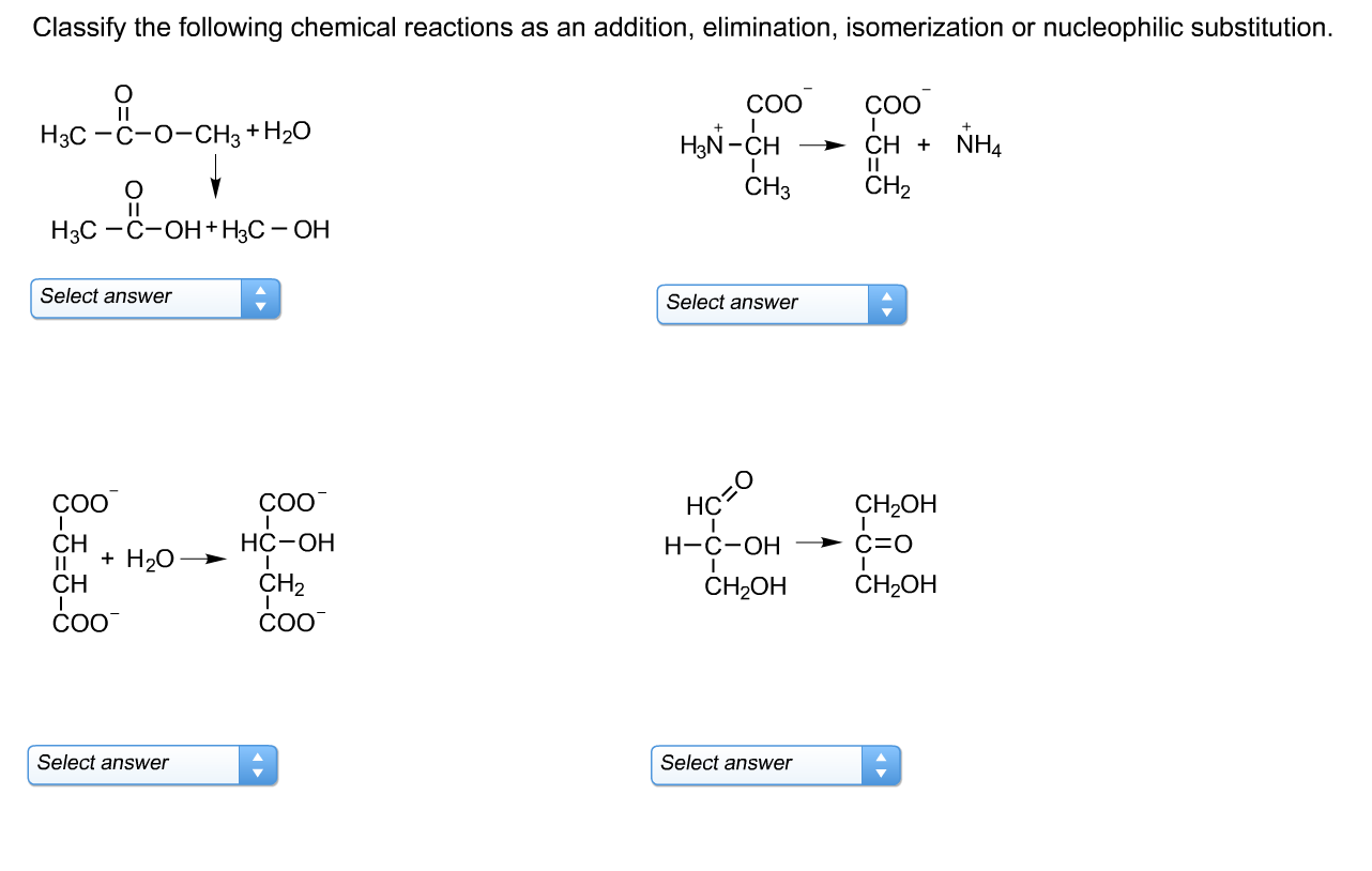 Solved Classify The Following Chemical Reactions As An Ad