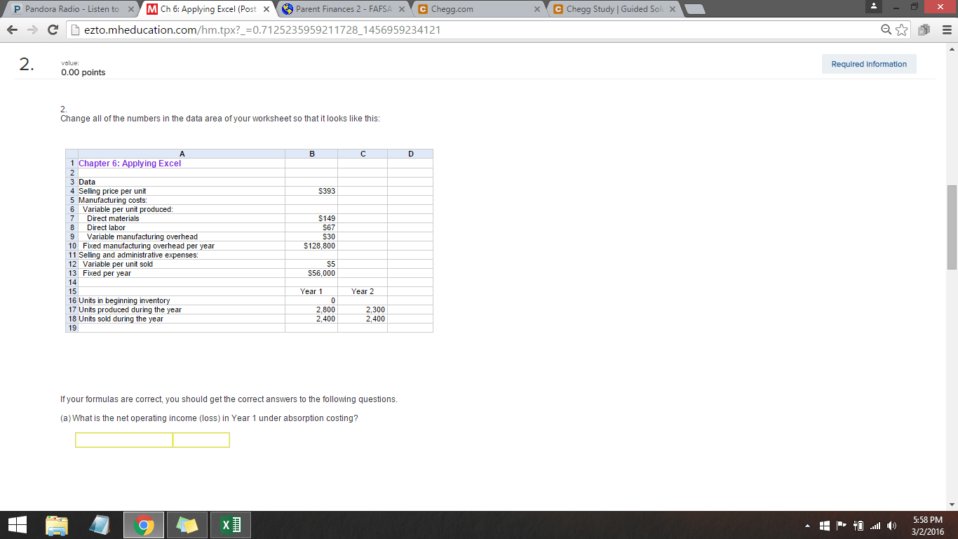 Solved Applying Excel Chapter 6 Managerial Accounting B