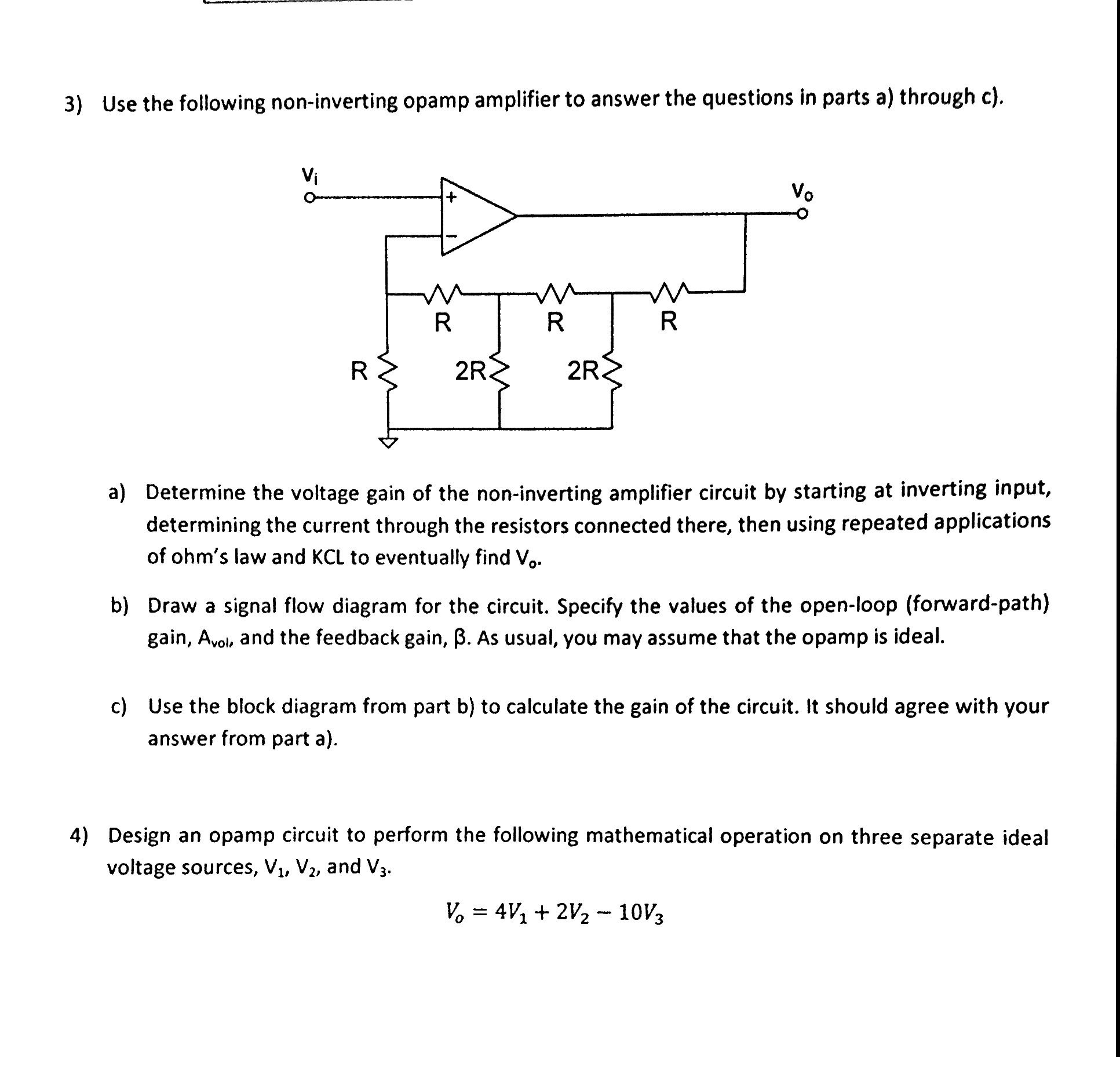 Solved 3 Use The Following Non Inverting Opamp Amplifier
