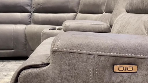 argento 6 piece fabric power reclining sectional with power headrests