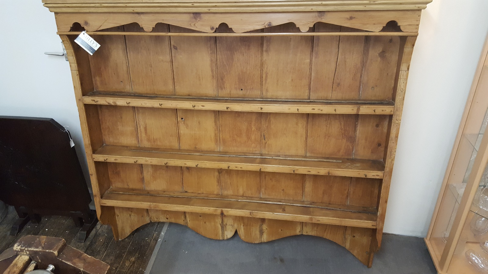 large antique french pine wall mounted plate rack
