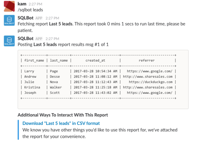 SQL reports in Slack from SQLBOT