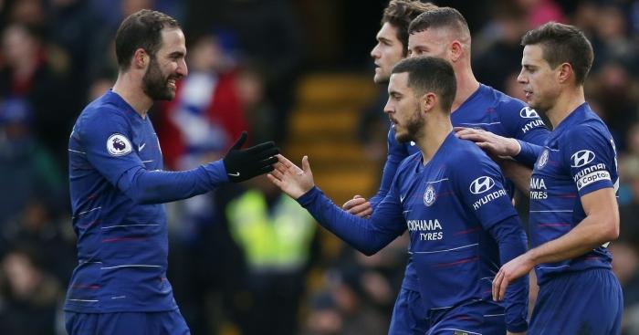 Image result for chelsea 5-0 huddersfield + hazard  Higuain, David Luiz Score Twice As Hazard Reach Career Milestone In Chelsea Victory Eden Hazard Chelsea