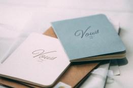Their elegant vow booklet