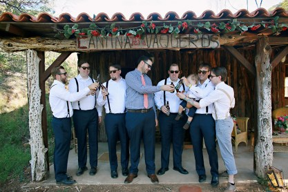 The groom and his entourage toast to the big day