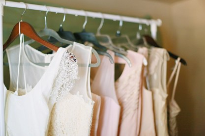 The rack of ethereal dresses ready to go!