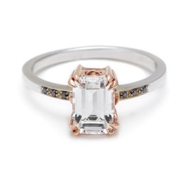 Emerald cut rings are rectangular with cropped corners and long, stair-step-like facets. Photo: Anna Sheffield
