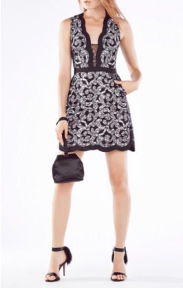 BCBGMaxAzria Sirena Floral Lace Scroll Dress