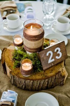 If you've got the budget, log slices topped with candles and moss make standout centerpieces. Photo: Lisawola