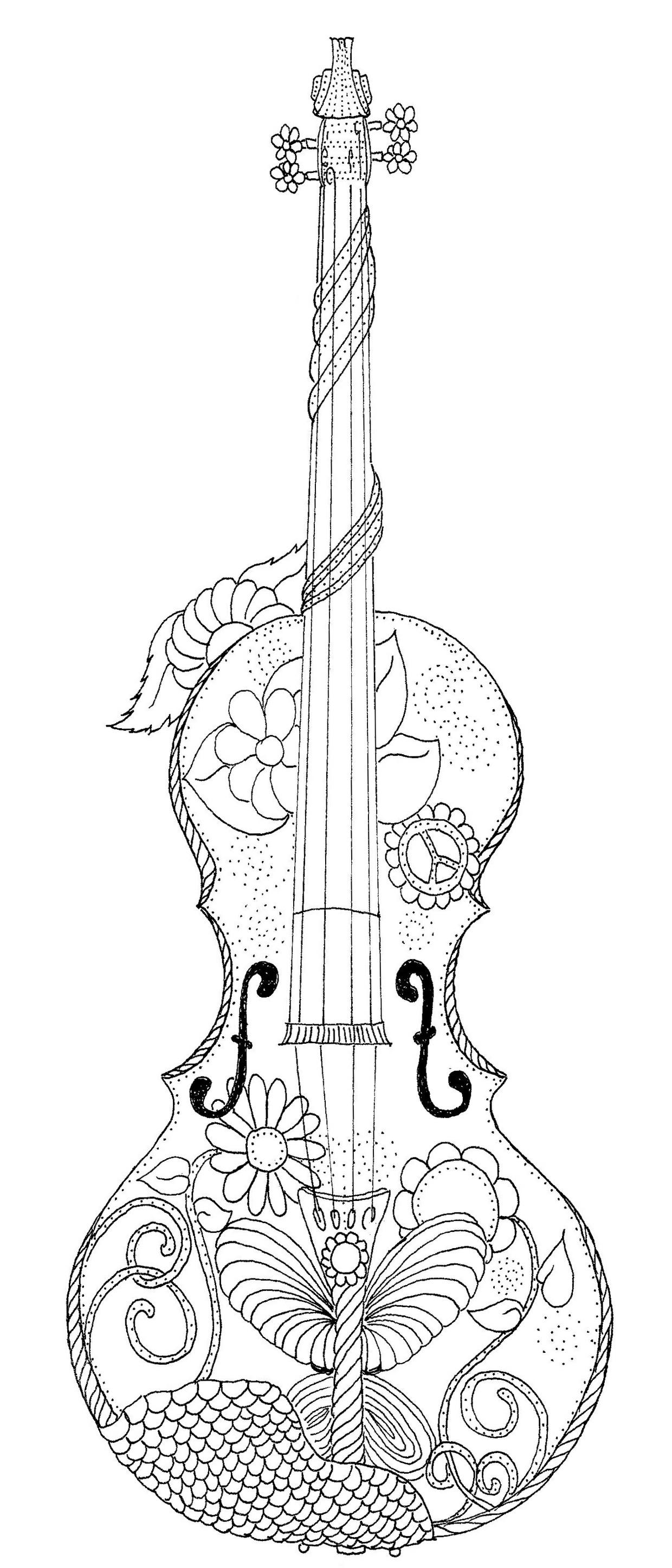 Violin Coloring Page Southernskystudio