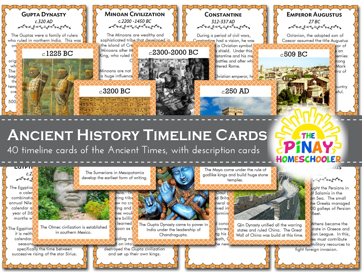 Timeline Cards Of World History Ancient Times