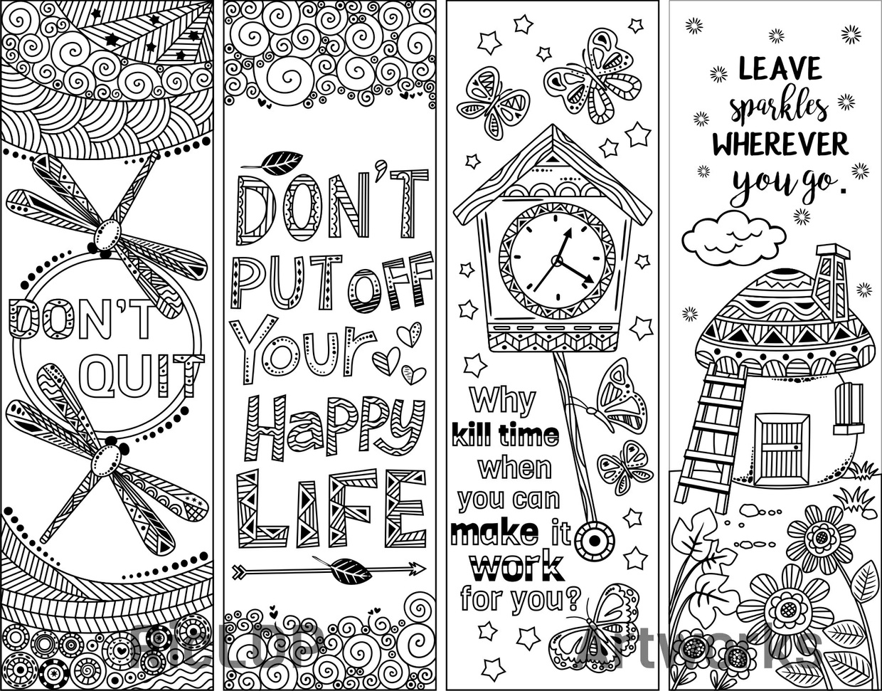 8 Coloring Bookmark Doodles With Quotes RicLDP Artworks