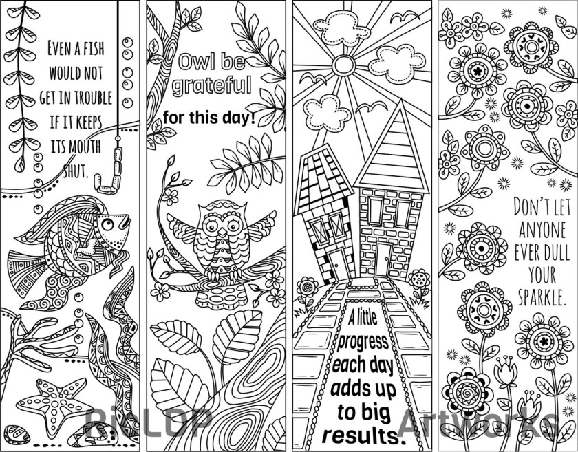 8 coloring bookmark doodles  quotes  ricldp artworks