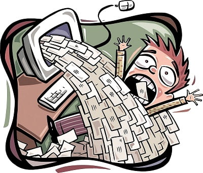 Cartoon of person being drowned in e-mail spam
