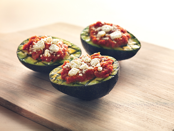 Grilled Avocados with Vegetable Relish