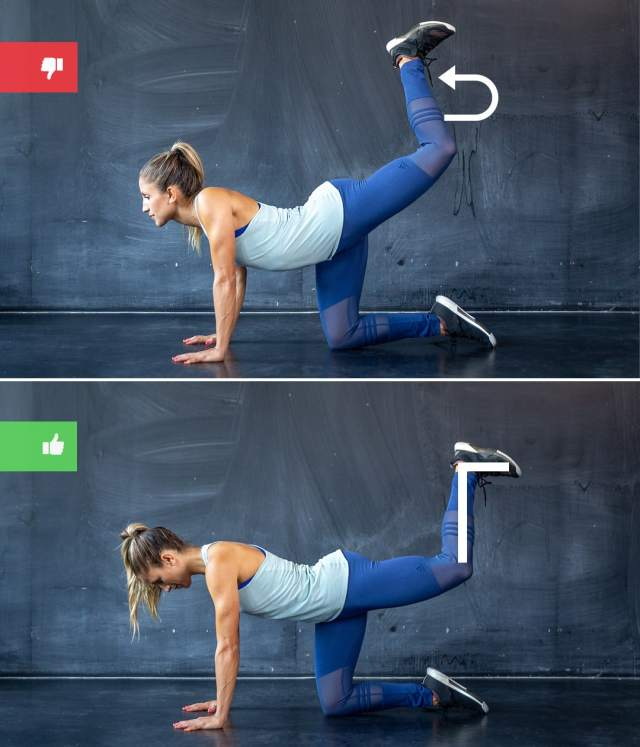 donkey kicks mistake2 - Right & Wrong: Most Common Bodyweight Exercise Mistakes