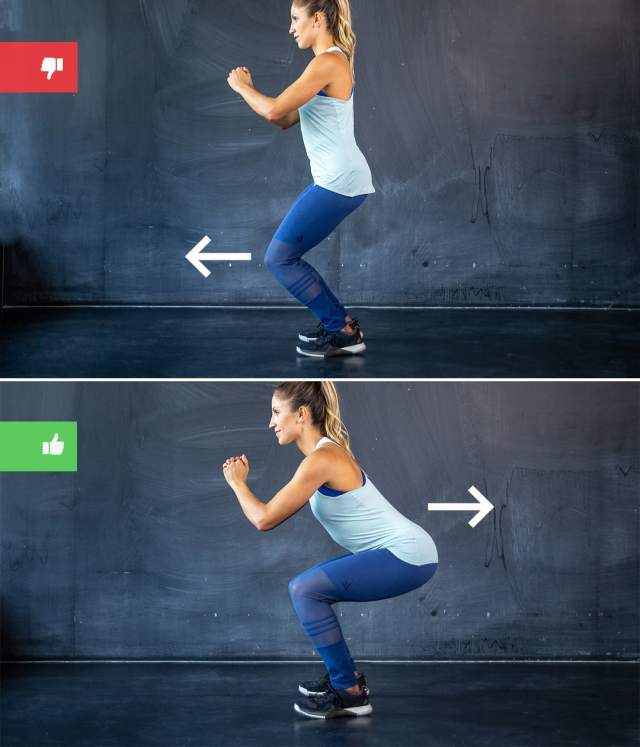 squat mistake2 - Right & Wrong: Most Common Bodyweight Exercise Mistakes