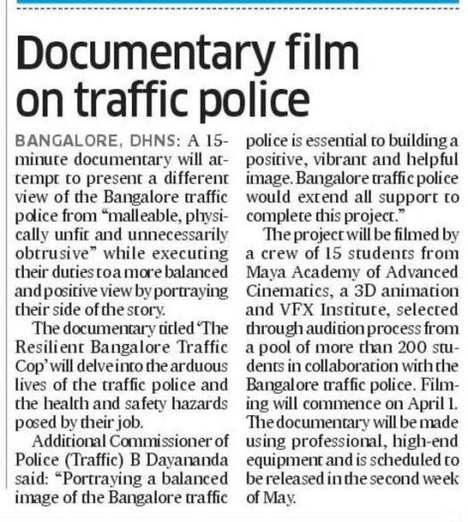Award Winning Documentary film-The Resilient Bangalore Traffic Cop