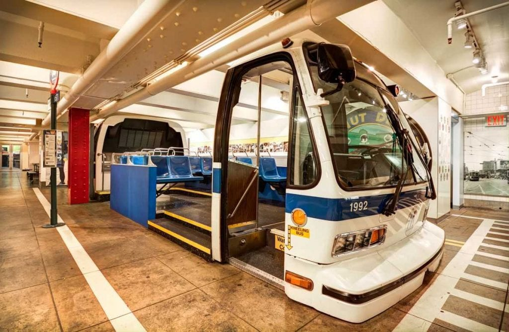 Open bus exhibit at the New York Transit Museum