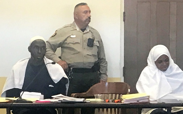 Defendant Subhannah Wahhaj sits next to her husband, defendant Lucas Morton, during a hearing on charges of child abuse in which they were granted bail in Taos County, New Mexico, US Aug 12, 2018. REUTERS