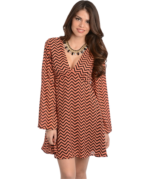 Coral And Black Chevron Dress Jayden Marina Boutique