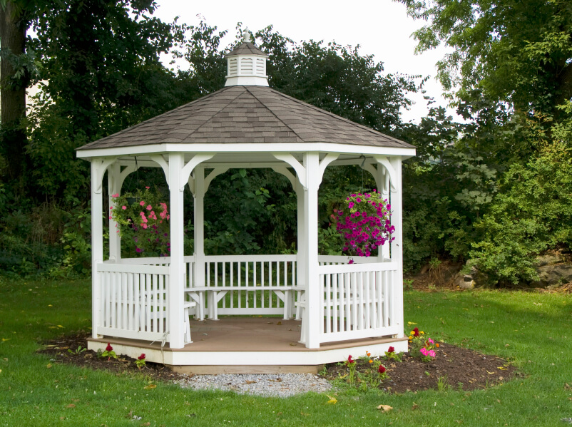 White Gazebo Design With Built In White Benches And