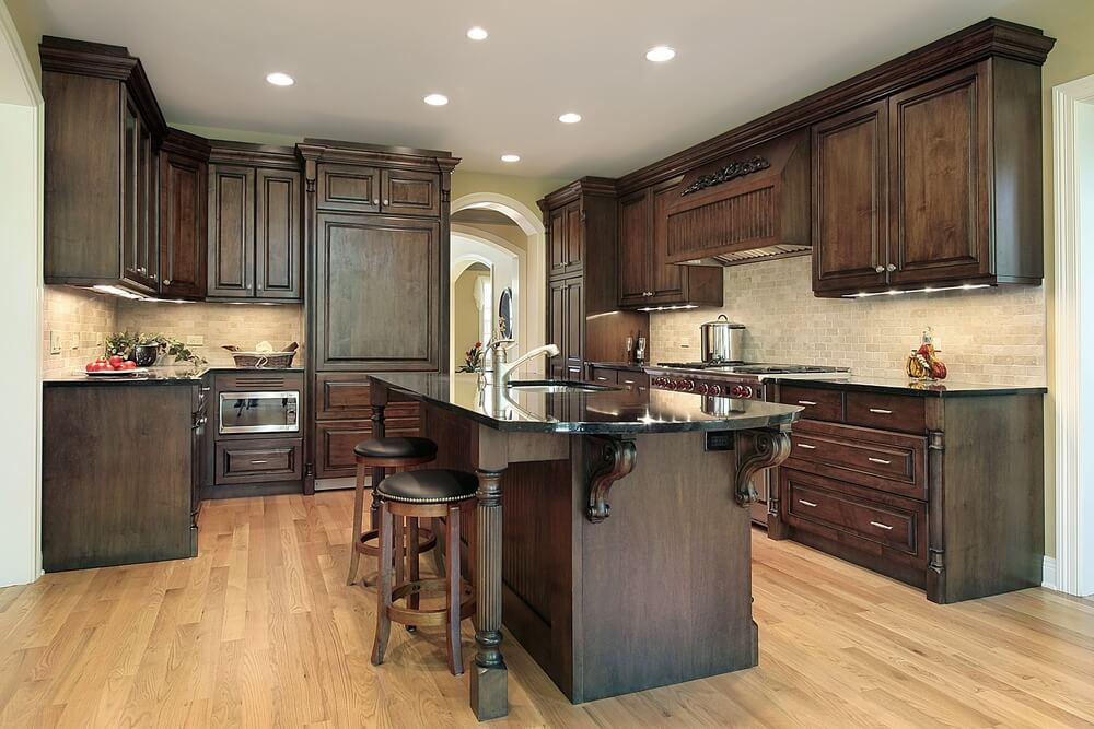 """43 """"New and Spacious"""" Darker Wood Kitchen Designs & Layouts on Backsplash Ideas For Dark Cabinets And Light Countertops  id=13907"""