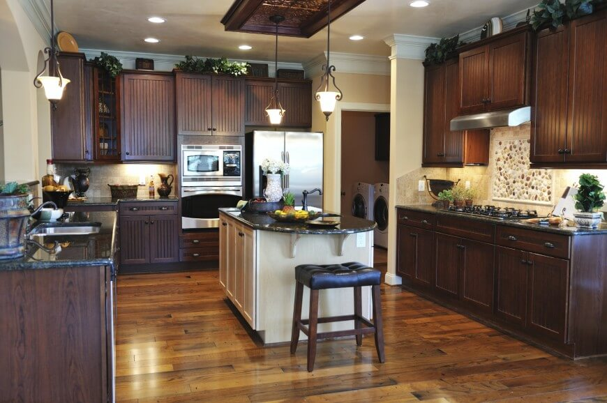 41 Luxury U-Shaped Kitchen Designs & Layouts (Photos) on Maple Kitchen Cabinets With Dark Wood Floors Dark Countertops  id=79022