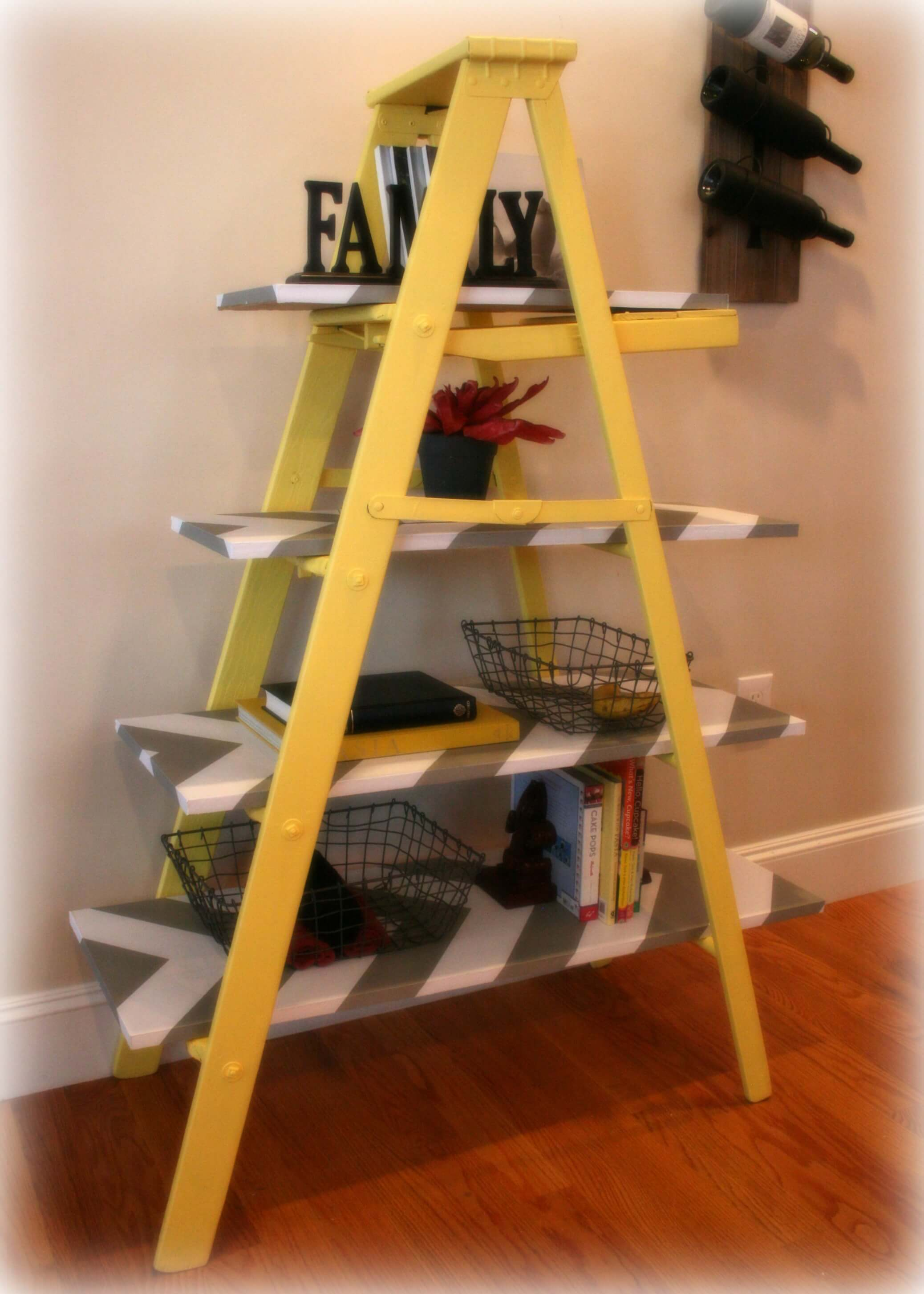 Vintage Yellow Wooden Leaning Ladder Shelf Build It Or