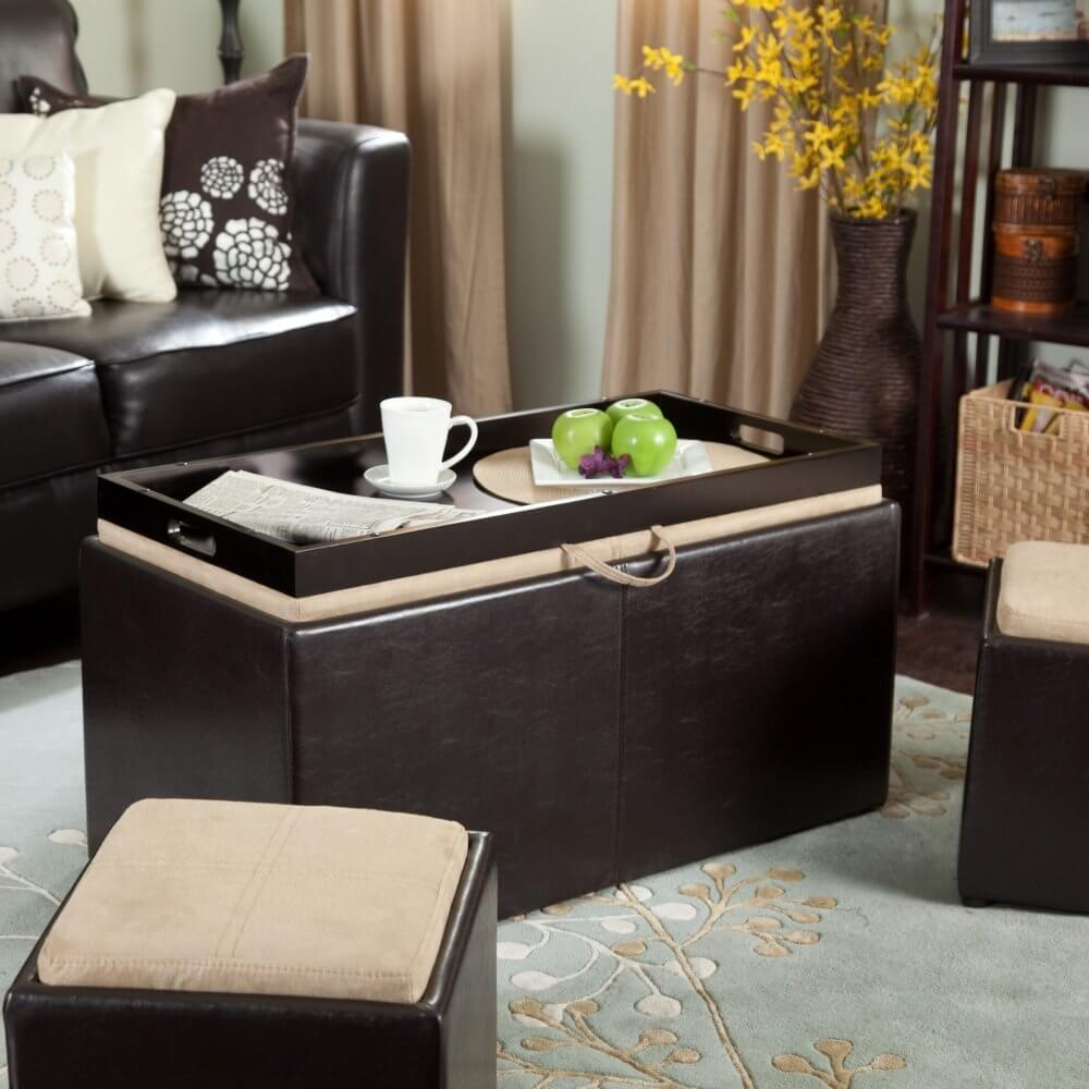 Cushioned Ottoman Coffee Table