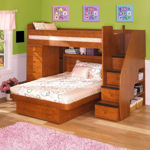 This engineered wood L-shaped bunk is a twin over full size bed. The ...