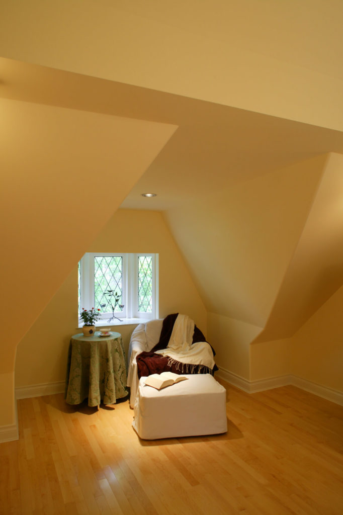 Attic with small reading room