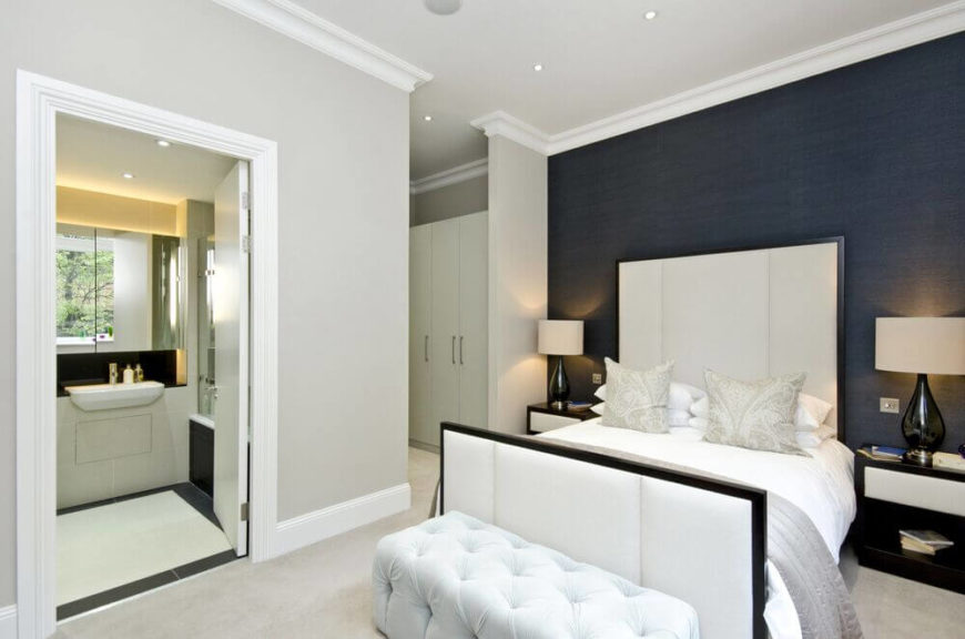24 comfortable bedrooms with an interesting accent wall (detailed
